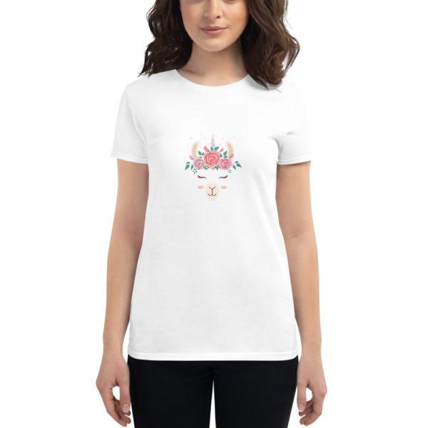 Alpaka T-Shirt weiß - Blumen Alpaka