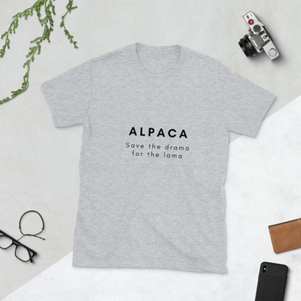 Alpaka T-Shirt grau - Save the Drama for the Lama