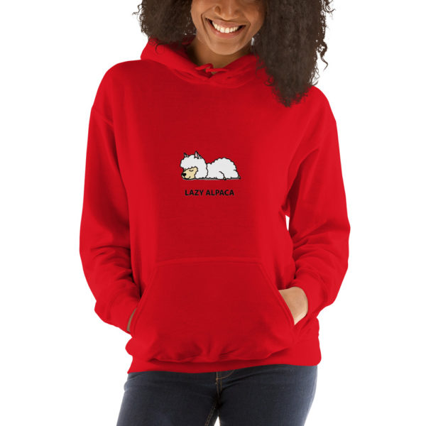 Alpaka Hoodie rot- Lazy Alpaca