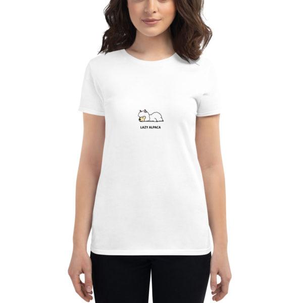 Alpaka T-Shirt weiß - Lazy Alpaca