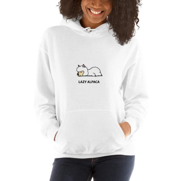 Alpaka Hoodie weiß- Lazy Alpaca